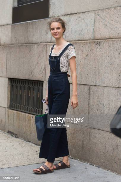 Model Tilda Lindstam wears Birkenstock sandals on Day 5 of New York Fashion Week Spring/Summer 2015 on September 8 2014 in New York City