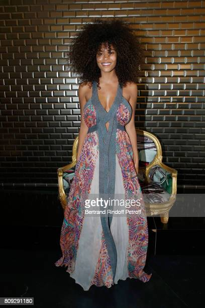 Model Tina Kunakey attends the Jean Paul Gaultier Haute Couture Fall/Winter 20172018 show as part of Haute Couture Paris Fashion Week on July 5 2017...