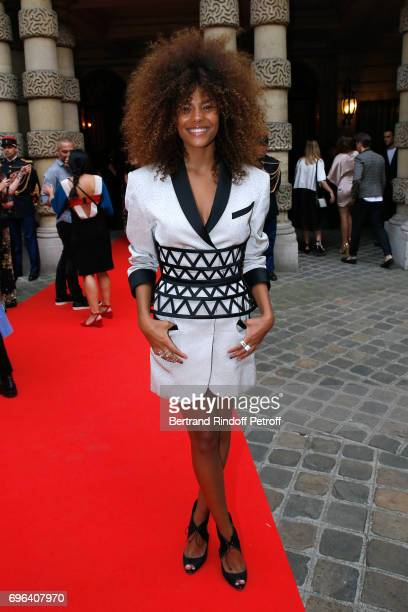 Model Tina Kunakey attends the JeanPaul Gaultier 'Scandal' Fragrance Launch at Hotel de Behague on June 15 2017 in Paris France