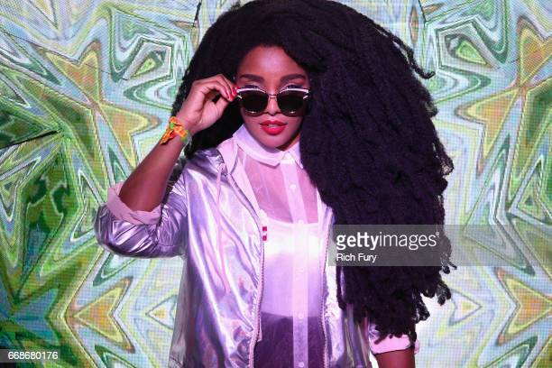 Model TK Quann attends HM Loves Coachella Tent during day 1 of the Coachella Valley Music Arts Festival at the Empire Polo Club on April 14 2017 in...