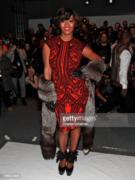 Model Toccara Jones attends the Joanna Mastroianni Fall 2012 fashion show during MercedesBenz Fashion Week at the The Studio at Lincoln Center on...