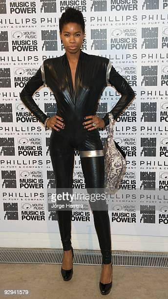 Model Tolula Adeyemi attends the Destroy/Rankin Private View at Phillips de Pury on November 9 2009 in London England