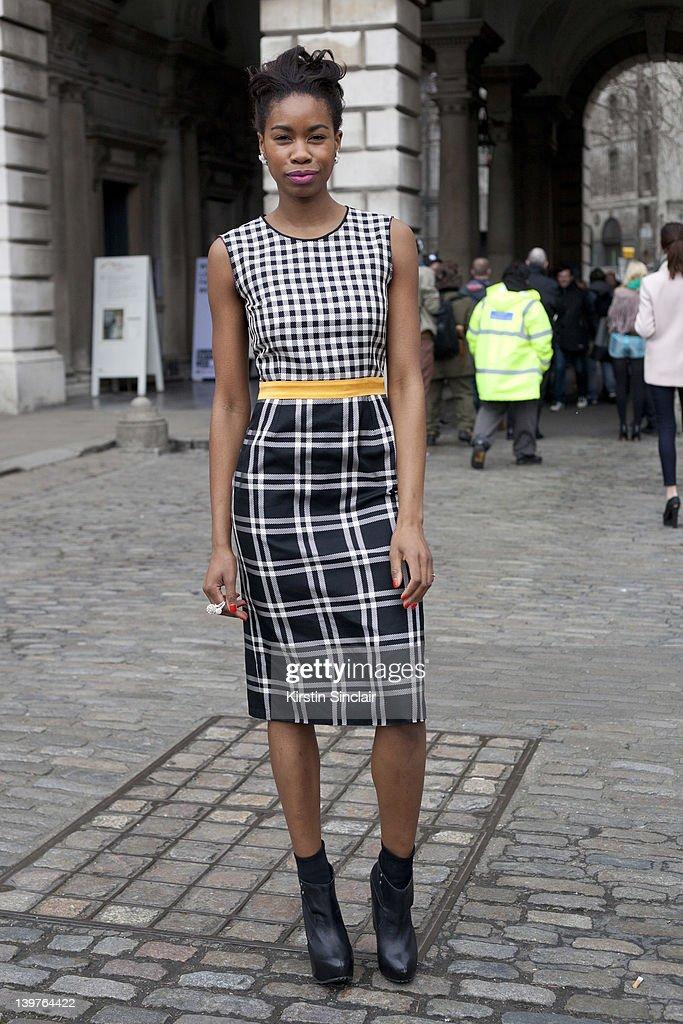 Model Tolula Adeyemi wearing a Ashish dress street style at London fashion week autumn/winter 2012 womenswear shows on February 21, 2012 in London, England.