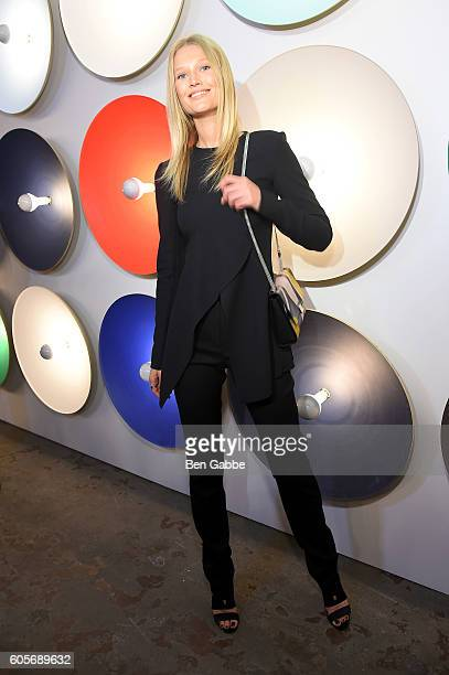 Model Toni Garrn attends the Boss Womenswear fashion show during New York Fashion Week September 2016 at The Gallery Skylight at Clarkson Sq on...