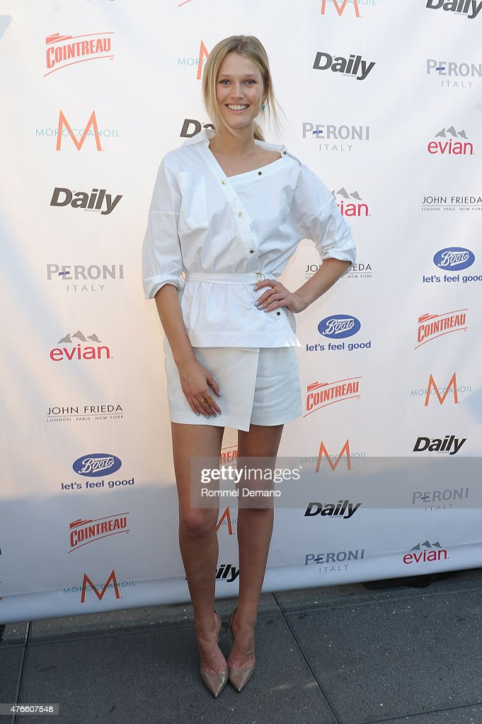 Model Toni Garrn attends 'The Daily Summer' season premiere issue party at La Piscine Rooftop on June 10 2015 in New York City