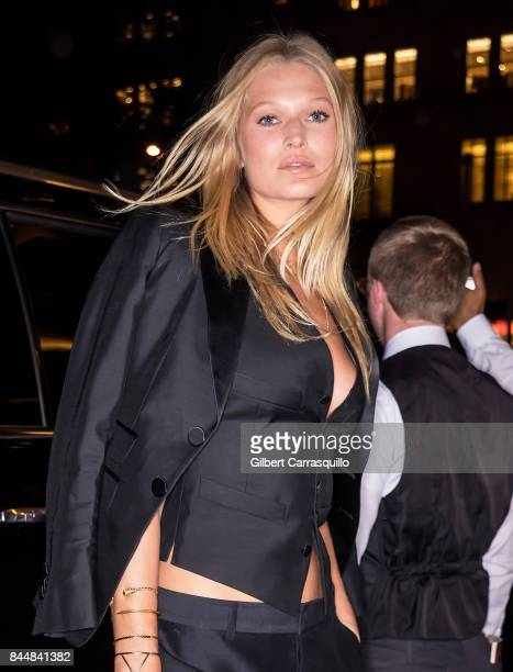 Model Toni Garrn is seen arriving the Harper's BAZAAR Celebration of 'ICONS By Carine Roitfeld' at The Plaza Hotel presented by Infor Laura Mercier...