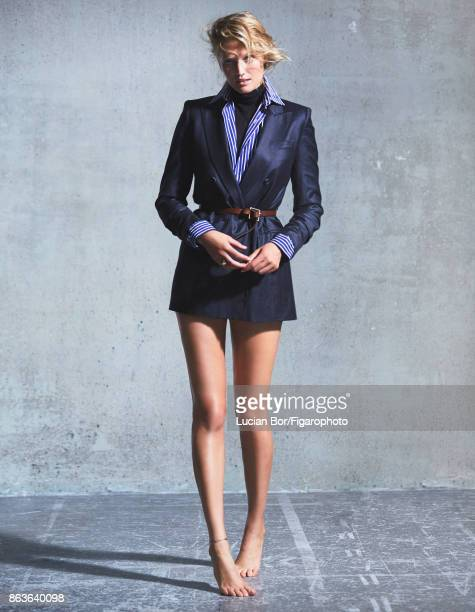 Model Toni Garrn poses at a fashion shoot for Madame Figaro on September 5 2017 in Paris France Jacket and sweater shirt ring belt PUBLISHED IMAGE...