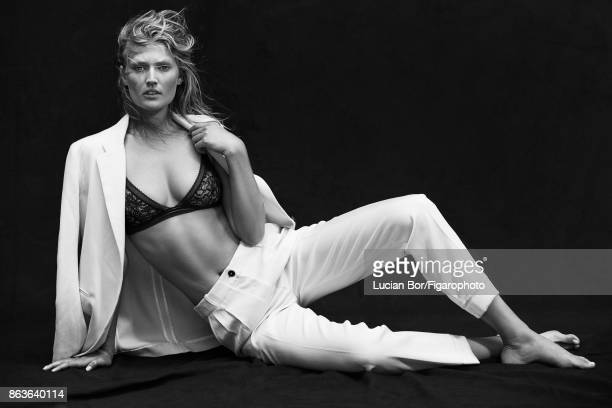 Model Toni Garrn poses at a fashion shoot for Madame Figaro on September 5 2017 in Paris France Suit bra PUBLISHED IMAGE CREDIT MUST READ Lucian...