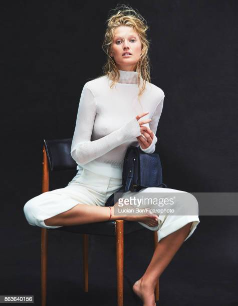 Model Toni Garrn poses at a fashion shoot for Madame Figaro on September 5 2017 in Paris France Top and pants Pia bag PUBLISHED IMAGE CREDIT MUST...