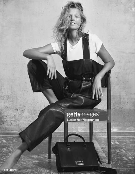 Model Toni Garrn poses at a fashion shoot for Madame Figaro on September 5 2017 in Paris France Overalls tshirt belt Pia bag PUBLISHED IMAGE CREDIT...