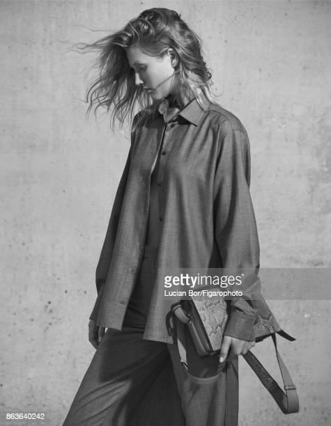 Model Toni Garrn poses at a fashion shoot for Madame Figaro on September 5 2017 in Paris France Shirt and pants Pia bag CREDIT MUST READ Lucian...