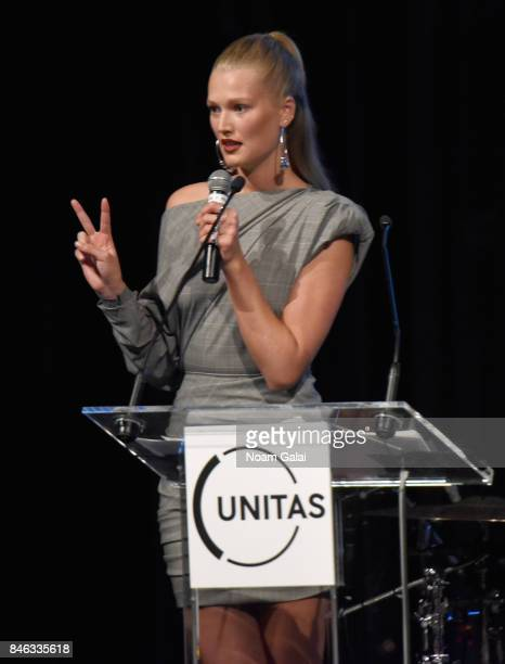 Model Toni Garrn speaks onstage during Unitas Third Annual Gala Against Human Trafficking at Capitale on September 12 2017 in New York City