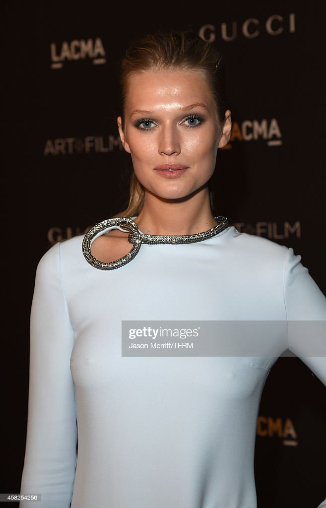 Model Toni Garrn wearing Gucci attends the 2014 LACMA Art Film Gala honoring Barbara Kruger and Quentin Tarantino presented by Gucci at LACMA on...