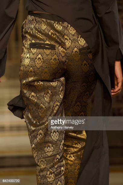A model trouser detail walks the runway at the Limkokwing University show at Fashion Scout during the London Fashion Week February 2017 collections...