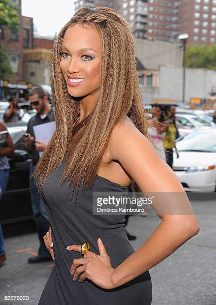 Model Tyra Bank visits 'The Tyra Banks Show' celebration of the first all black model issue of Vogue Italia on August 12 2008 in New York City