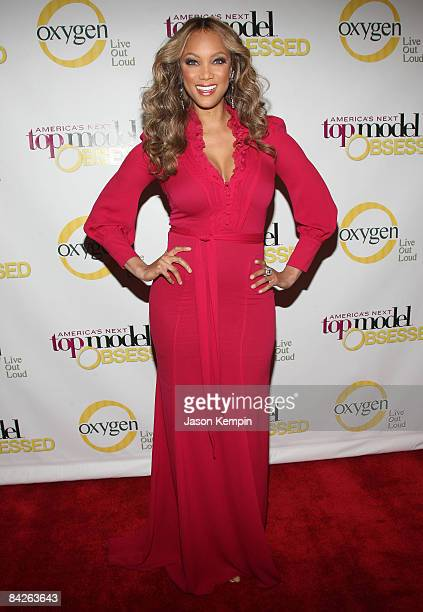 Model Tyra Banks attends the Oxygen Media Launch Party for 'America's Next Top Model' at Gotham Hall on January 12 2009 in New York City