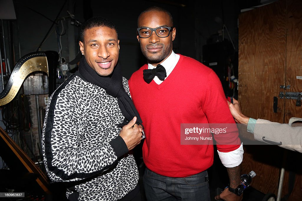 Model <a gi-track='captionPersonalityLinkClicked' href=/galleries/search?phrase=Tyson+Beckford&family=editorial&specificpeople=210873 ng-click='$event.stopPropagation()'>Tyson Beckford</a> (r) and guest attend Harlem's Fashion Row Presentation during Fall 2013 Mercedes-Benz Fashion Week at The Apollo Theater on February 7, 2013 in New York City.