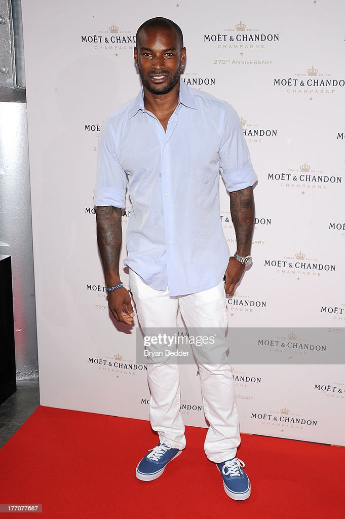 Model Tyson Beckford attends Moet & Chandon Celebrates Its 270th Anniversary With New Global Brand Ambassador, International Tennis Champion, Roger Federer at Chelsea Piers Sports Center on August 20, 2013 in New York City.