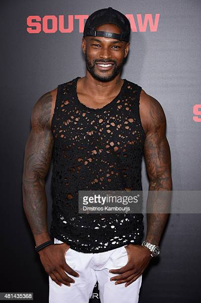 Model Tyson Beckford attends the 'Southpaw' New York Premiere at AMC Loews Lincoln Square on July 20 2015 in New York City