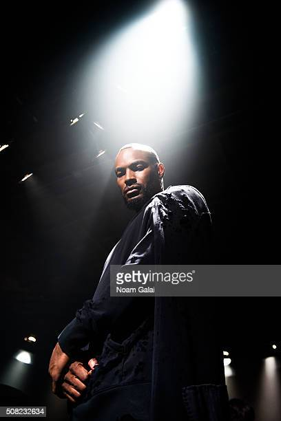 Model Tyson Beckford poses at the Greg Lauren presentation during New York Fashion Week Men's Fall/Winter 2016 at ArtBeam on February 3 2016 in New...