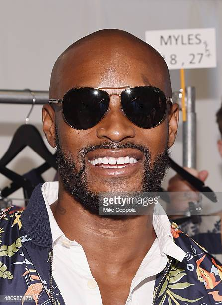Model Tyson Beckford poses for a picture backstage at the Parke Ronen mens fashion show at New York Fashion Week Men's S/S 2016 at Skylight Clarkson...