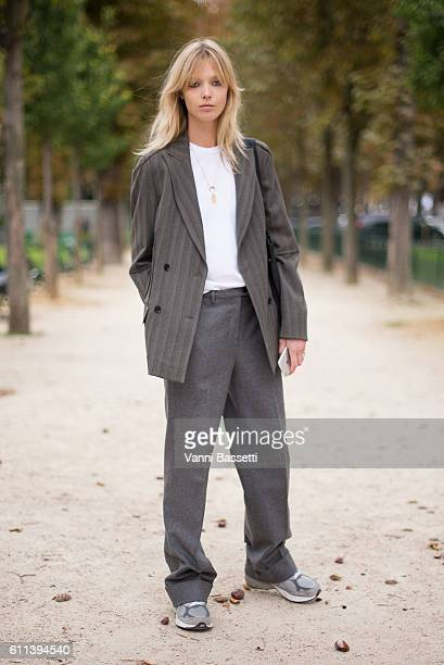 Model Ulrikke Hoyer poses after the Chloe show at the Grand Palais during Paris Fashion Week Womenswear SS17 on September 29 2016 in Paris France