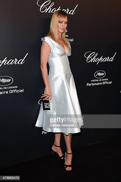 Model Uma Thurman attends a celebrity party during the 68th annual Cannes Film Festival on May 18 2015 in Cannes France