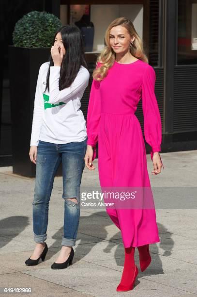 Model Valentina Zenlayaeva presents the new Corte Ingles store Spring Campaigne 2017 at the El Corte Ingles Serrano store on March 8 2017 in Madrid...