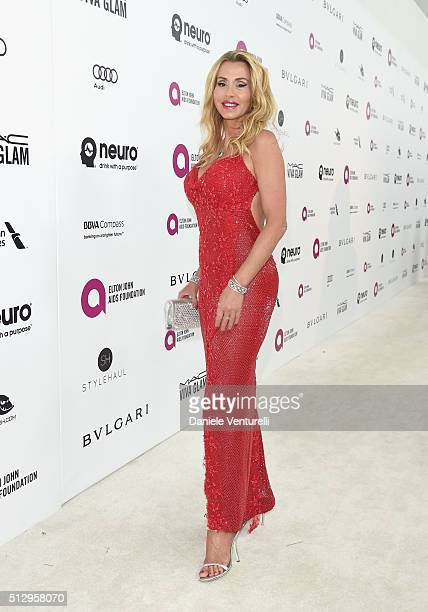 Model Valeria Marini attends Bulgari at the 24th Annual Elton John AIDS Foundation's Oscar Viewing Party at The City of West Hollywood Park on...
