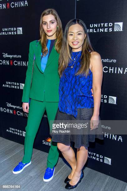 Model Valery Kaufman and Alex Woo attend Disneynature with the Cinema Society host the premiere of 'Born in China' at Landmark Sunshine Cinema on...