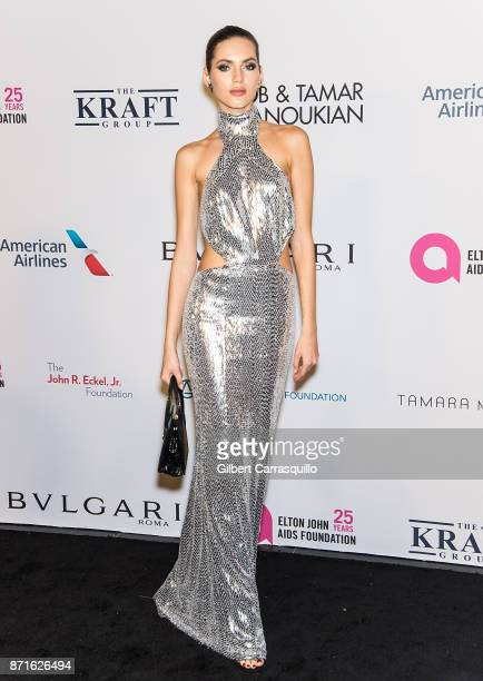 Model Valery Kaufman attends Elton John AIDS Foundation Commemorates Its 25th Year And Honors Founder Sir Elton John During New York Fall Gala at...