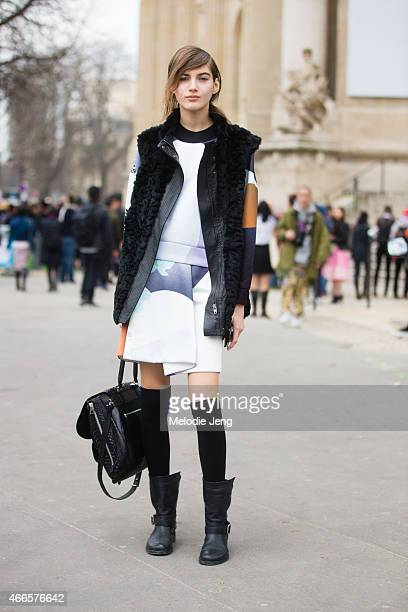 Model Valery Kaufman exits the Chanel show at Grand Palais on March 10 2015 in Paris France