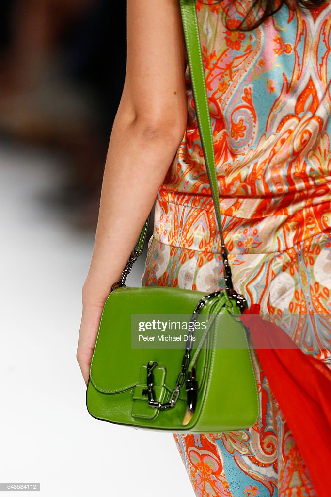 A model walks, bag detail, the runway at the Anja Gockel show during the Mercedes-Benz Fashion Week Berlin Spring/Summer 2017 at Erika Hess Eisstadion on June 29, 2016 in Berlin, Germany.