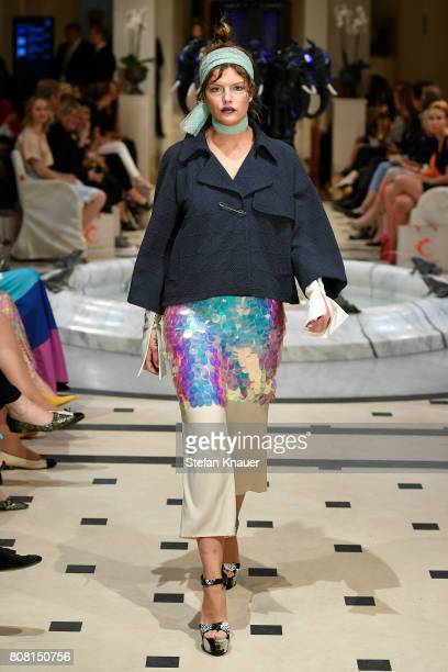 Model Vanessa Fuchs walks the runway at the Anja Gockel show during the MercedesBenz Fashion Week Berlin Spring/Summer 2018 at Hotel Adlon on July 4...