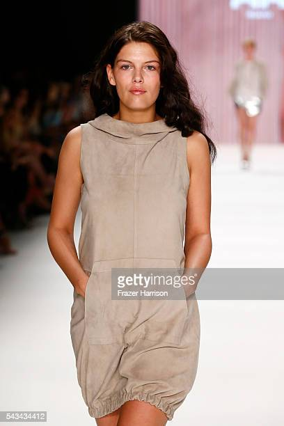 Model Vanessa Fuchs walks the runway at the Riani show during the MercedesBenz Fashion Week Berlin Spring/Summer 2017 at Erika Hess Eisstadion on...
