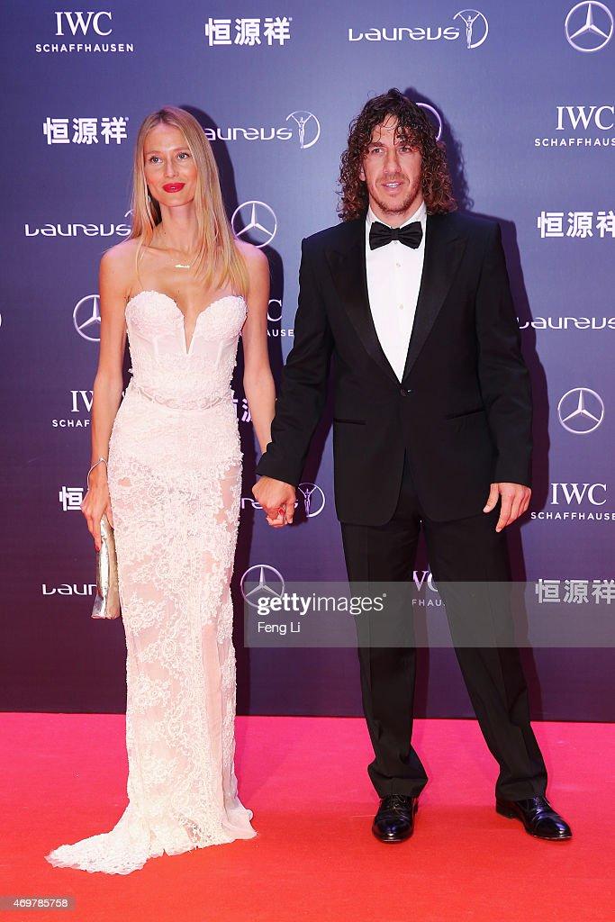 Model Vanessa Lorenzo and Laureus Ambassador Carles Puyol attend the 2015 Laureus World Sports Awards at Shanghai Grand Theatre on April 15, 2015 in Shanghai, China.