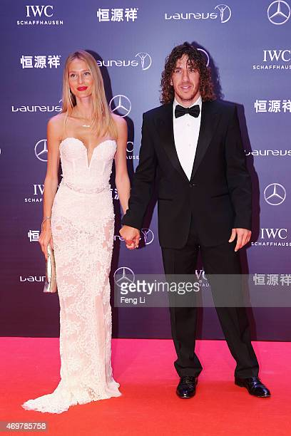 Model Vanessa Lorenzo and Laureus Ambassador Carles Puyol attend the 2015 Laureus World Sports Awards at Shanghai Grand Theatre on April 15 2015 in...