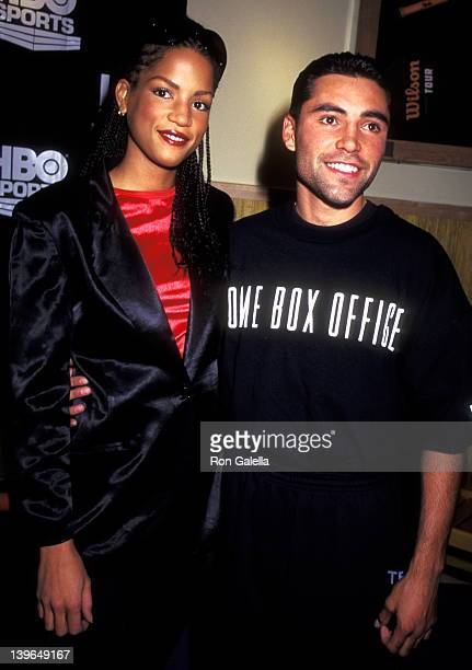 Model Veronica Webb and Athlete Oscar De La Hoya attend the Oscar De La Hoya PreFight Public Workout Session on December 12 1995 at the Official...