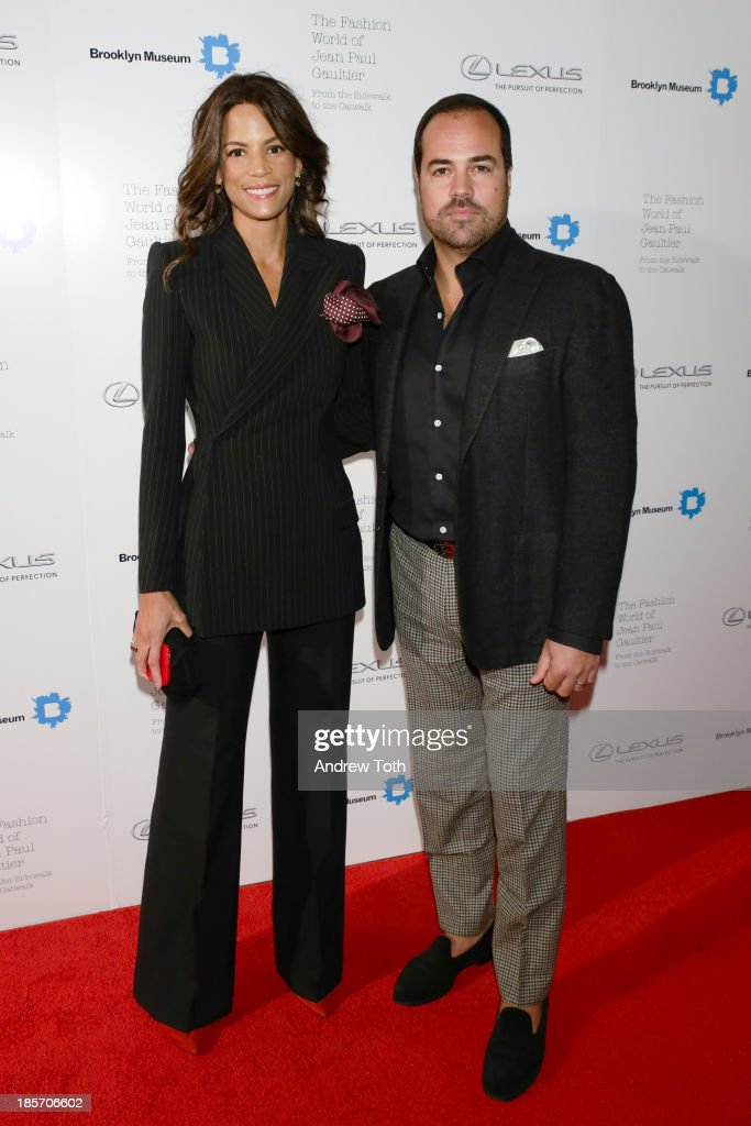 Model Veronica Webb (L) and Chris del Gatto attend the VIP reception and viewing for The Fashion World of Jean Paul Gaultier: From the Sidewalk to the Catwalk at the Brooklyn Museum on October 23, 2013 in the Brooklyn borough of New York City.