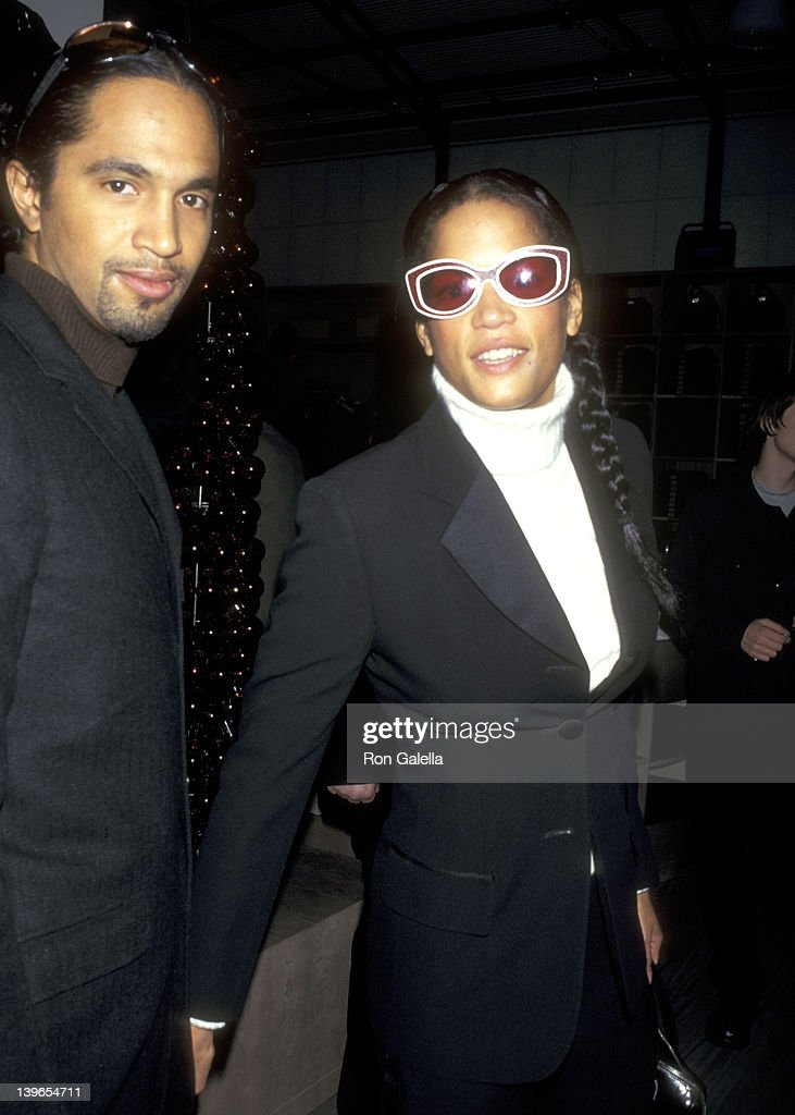 Model Veronica Webb and date attend the Fifth Anniversary Celebration of the A/X Armani Exchange on December 4 1996 at A/X Armani Exchange Store in...