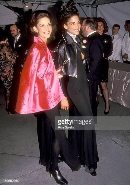Model Veronica Webb and guest attend the 100th Anniversary Celebration of Vogue Magazine on April 2 1992 at New York Public Library in New York City...