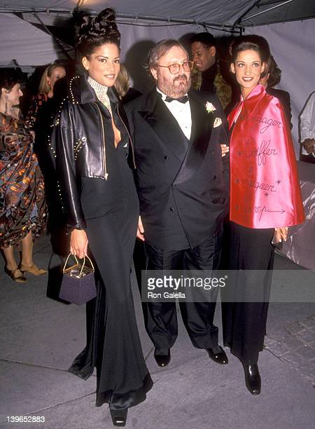 Model Veronica Webb Fashion Designer Gianfranco Ferrer and guest attend the 100th Anniversary Celebration of Vogue Magazine on April 2 1992 at New...