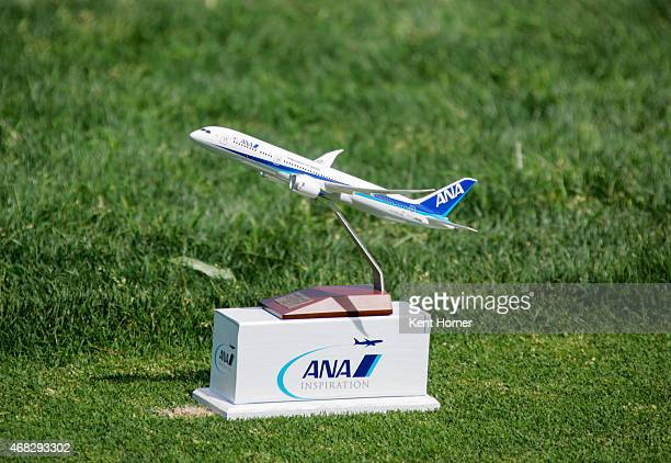 A model version of the ANA 787 Dreamliner tee marker sits on the first tee box in the ANA Inspiration ProAm Round at Mission Hills Country Club on...