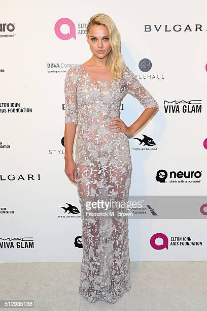 Model Viktoriya Sasonkina attends the 24th Annual Elton John AIDS Foundation's Oscar Viewing Party on February 28 2016 in West Hollywood California