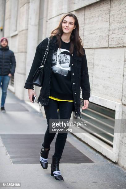 Model Vittoria Ceretti after Ferragamo during Milan Fashion Week Fall/Winter 2017/18 on February 26 2017 in Milan Italy