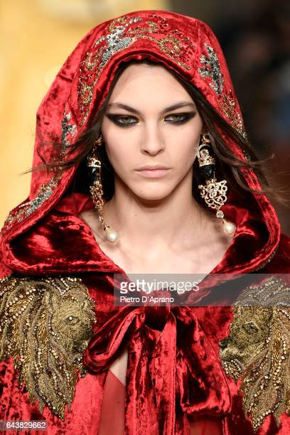 Model Vittoria Ceretti beauty detail walks the runway at the Alberta Ferretti show during Milan Fashion Week Fall/Winter 2017/18 on February 22 2017...