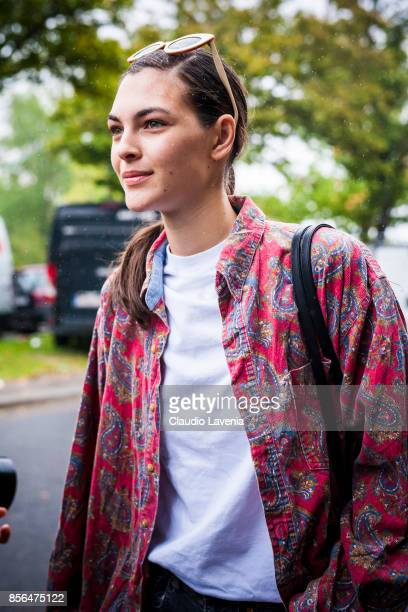 Model Vittoria Ceretti is seen after the Celine show during Paris Fashion Week Womenswear SS18 on October 1 2017 in Paris France