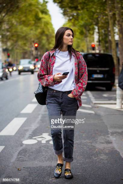 Model Vittoria Ceretti is seen after the Valentino show during Paris Fashion Week Womenswear SS18 on October 1 2017 in Paris France