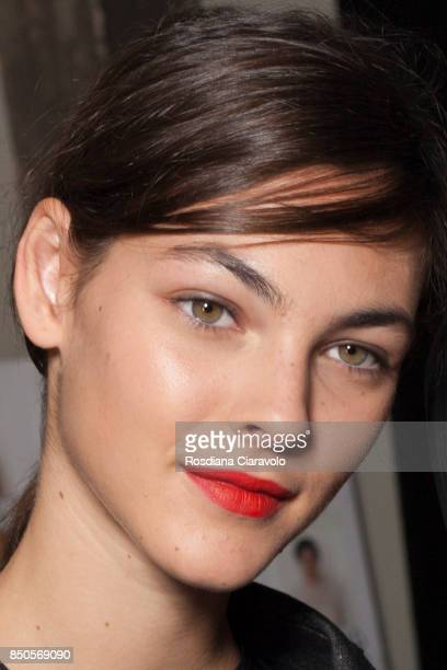 Model Vittoria Ceretti is seen ahead backstage of the Max Mara show during Milan Fashion Week Spring/Summer 2018 on September 21 2017 in Milan Italy