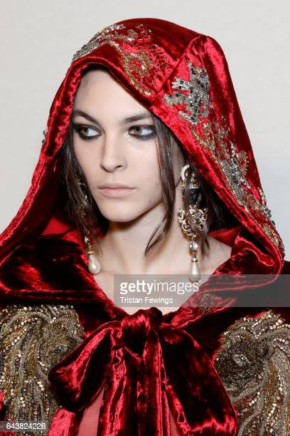 Model Vittoria Ceretti is seen backstage ahead of the Alberta Ferretti show during Milan Fashion Week Fall/Winter 2017/18 on February 22 2017 in...